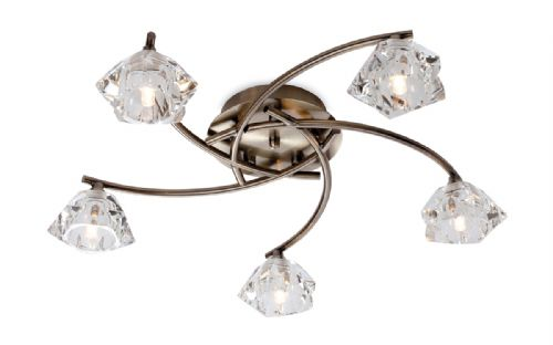 Firstlight 8365AB Antique Brass with Clear Glass Clara 5 Light Flush Fitting